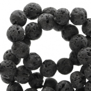 6 mm natural stone beads matt Lava Dark Anthracite Black