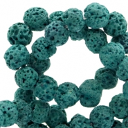 6 mm natural stone beads matt Lava Blue Petrol